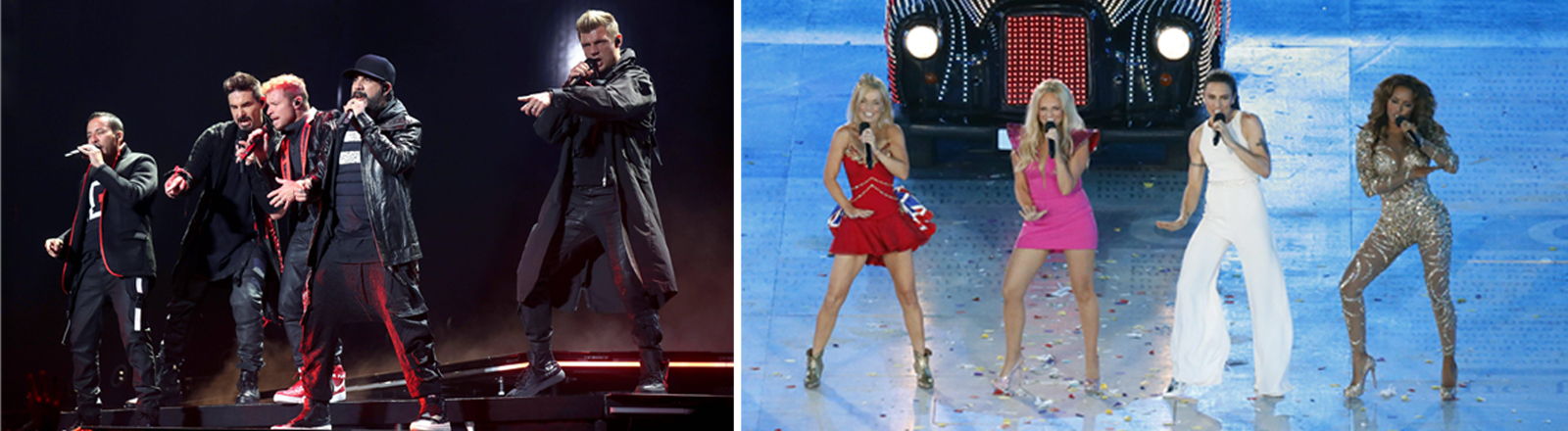 US band Backstreet Boys performs during a concert held at Palacio de los Deportes in Madrid, Spain, 13 May 2019 / The Spice Girls perform during the Closing Ceremony of the London 2012 Olympic Games