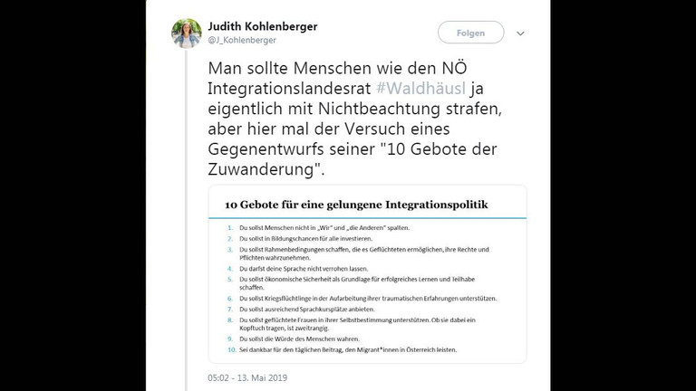 Ein Screenshot des Tweets von Judith Kohlenberger