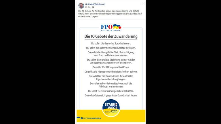 Screenshot des Facebook-Posts von Gottfried Waldhäusl
