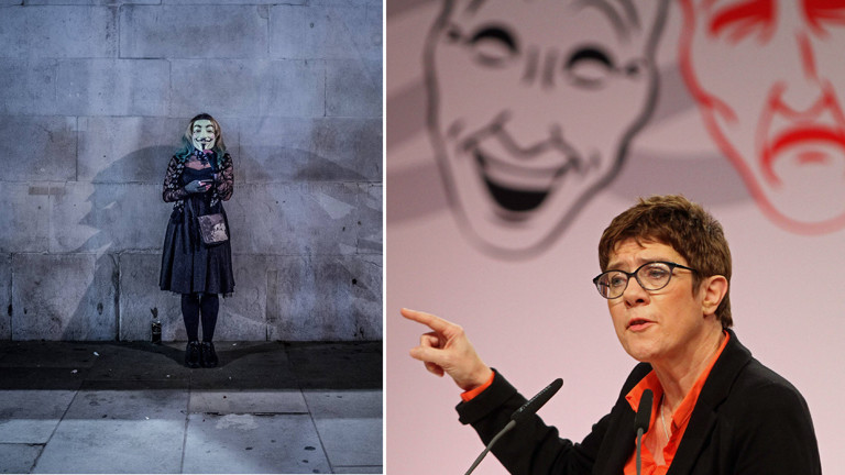 Anonymous-Aktivistin in London und die Politikerin Annegret Kramp-Karrenbauer