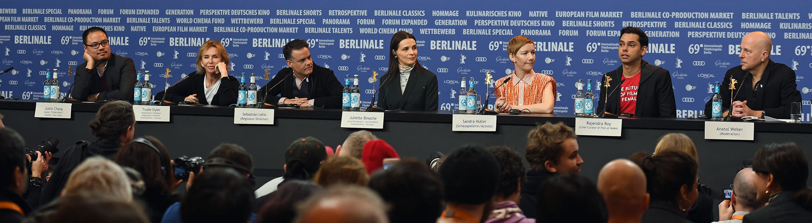 From left, Author, film critic and Berlinale jury member Justin Chang, English actress, film producer, director and Berlinale jury member Trudie Styler, Chilean-Argentine director and Berlinale jury member Sebastian Lelio, French actress and Berlinale jury president Juliette Binoche, German actress and Berlinale jury member Sandra Hueller and Author and Berlinale jury member Rajendra Roy attend a news conference ahead of the Berlinale International Film Festival in Berlin, Germany.