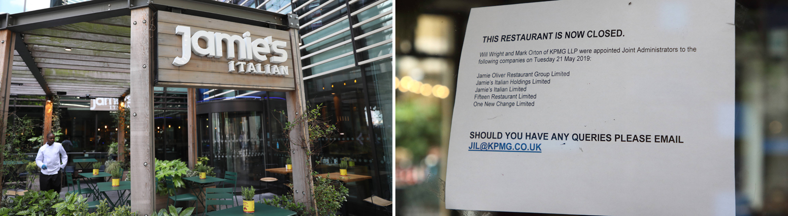 A general view of Jamie's Italian London Bridge restaurant / Sign outside Jamies Italian in Covent Garden as Celebrity chef Jamie Oliver s restaurant group has gone into administration, with 1000 jobs being lost.