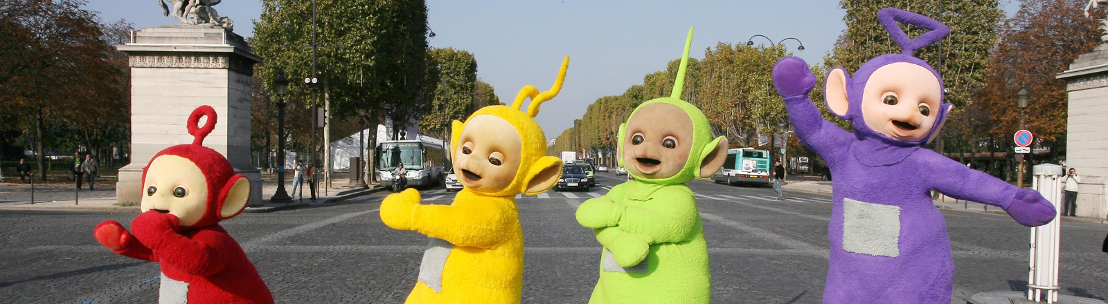Tinky-Winky, Dipsy, Laa-Laa and Po of the Teletubbies