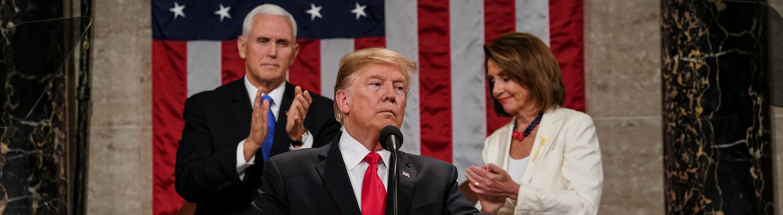 President Donald Trump delivered the State of the Union address, with Vice President Mike Pence and Speaker of the House Nancy Pelosi, at the Capitol in Washington, DC on February 5, 2019.