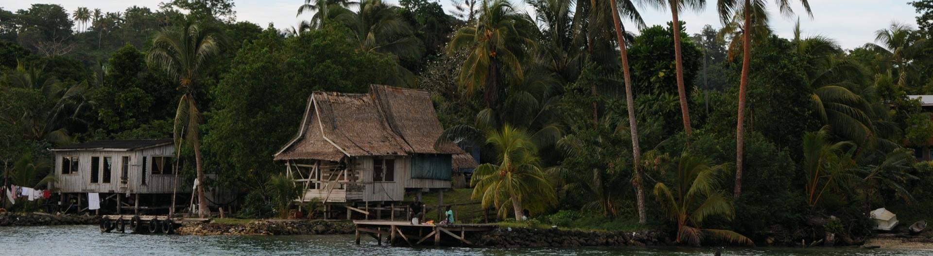 Haus von Indigenen an Roviana Lagune