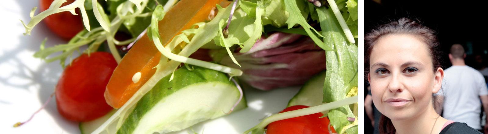 Sarah Tschernigow und ein Salat