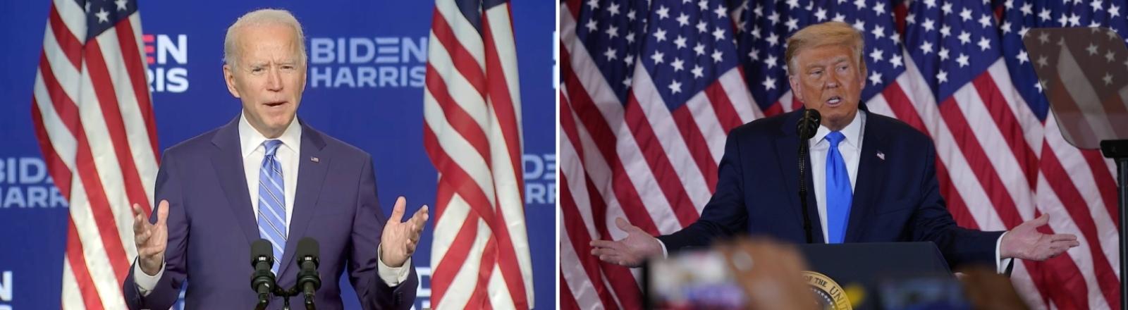 Nach der Wahl: Der demokratische Herausforderer Joe Biden und der republikanische Amtsinhaber Donald Trump