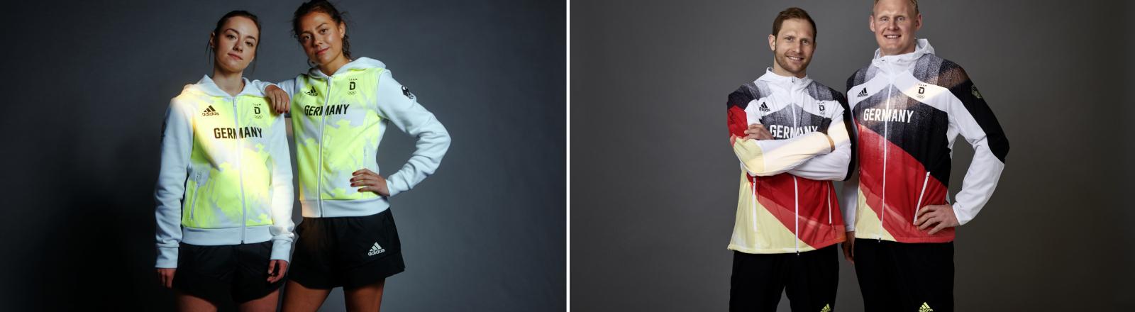 Olympionikinnen und Olympioniken in ihren Outfits: BMX-Fahrerinn Lara Lessmann, Hockeyspielerin Selin Oruz, Handballer Patrick Wiencek und Hockeyspieler Max Weinhold