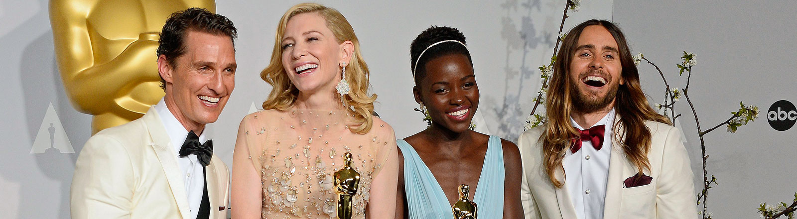 US actor Matthew McConaughey holds the Oscar for Best Performance by an Actor in a Leading Role for 'Dallas Buyers Club', Australian actress Cate Blanchett holds the Oscar for Best Performance by an Actress in a Leading Role for 'Blue Jasmine', Kenyan actress Lupita Nyong'o holds the Oscar for Best Performance by an Actress in a Supporting Role for '12 Years a Slave', and US actor Jared Leto holds the Oscar Best Performance by an Actor in a Supporting Role for 'Dallas Buyers Club' in the press room during the 86th annual Academy Awards ceremony at the Dolby Theatre in Hollywood, California, USA, 02 March 2014