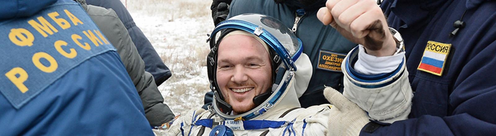 Alexander Gerst nach der Landung.