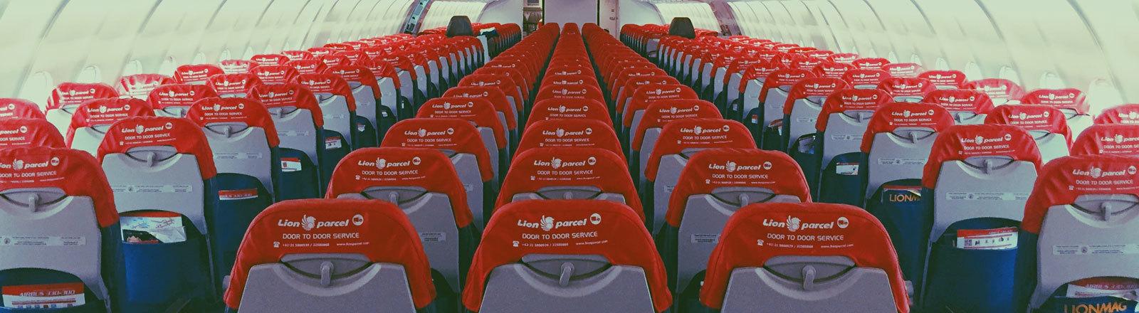 Blick in ein Flugzeug ohne Passagiere.