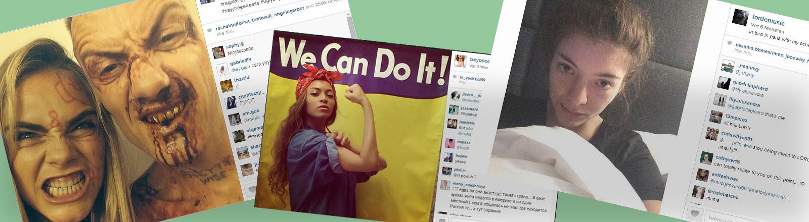 Instagram-Bilder von Cara Delevingne, Beyonce und Lorde