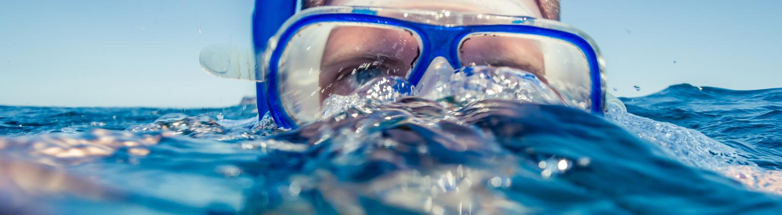 Ein Mann mit Schnorchel schwimmt knapp über der Wasseroberfläche.