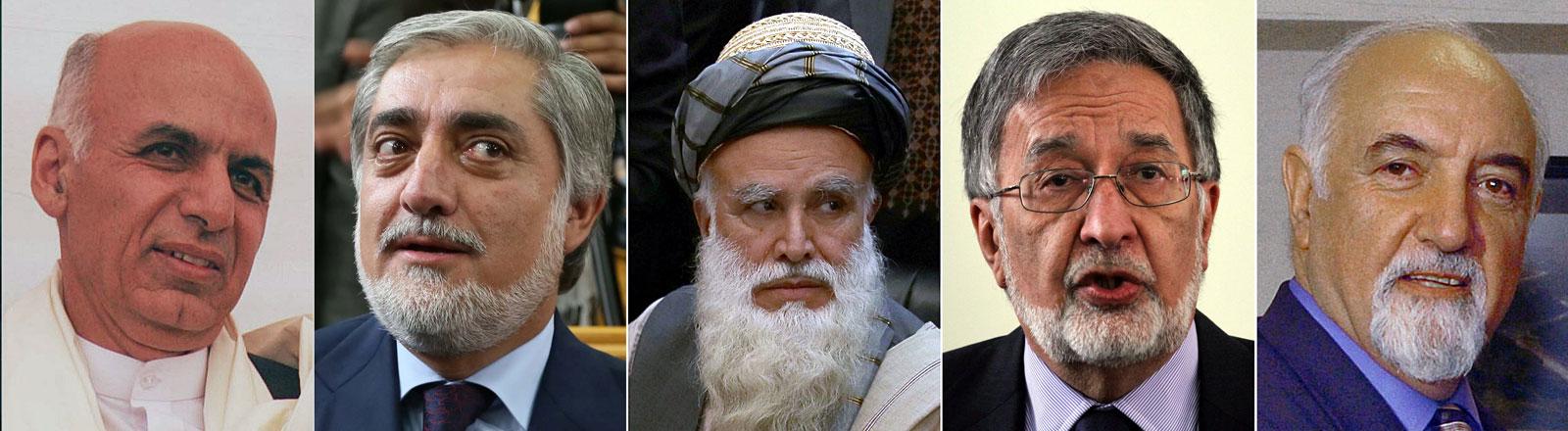 Einige der Bewerber für das Präsidentenamt in Afghanistan (v.l.n.r.): Ashraf Ghani Ahmadzai, Abdullah Abdullah, Abdul Rab Rasool Sayyaf, Zalmai Rassoul, Hedayat Amin Arsalah