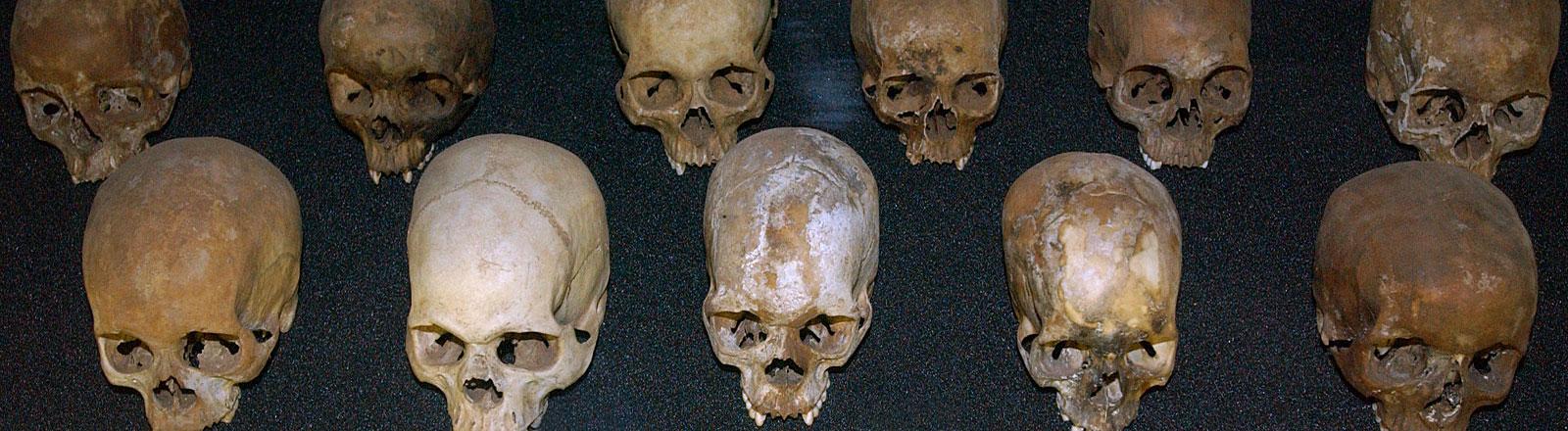 Totenschädel von Opfern des Völkermordes in einer Gedenkstätte in Ruandas Hauptstadt Kigali
