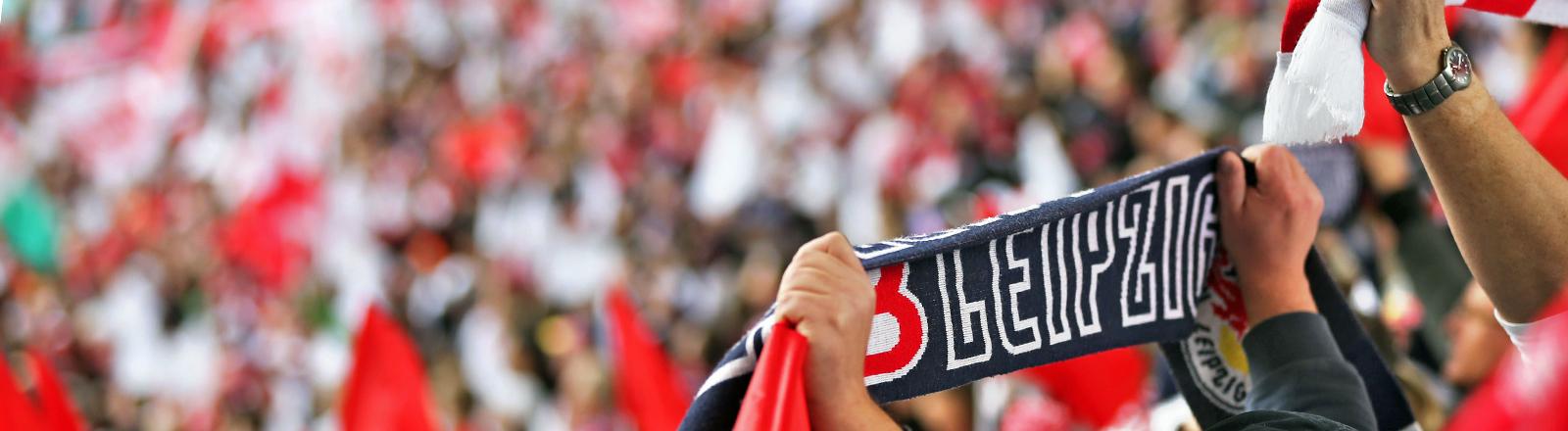 Die Leipziger Fans feuern ihre Mannschaft RB Leipzig ab 03.05.2014 gegen den FC Saarbrücken an.