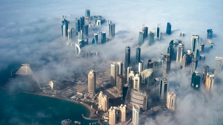 Doha im Nebel (dpa)