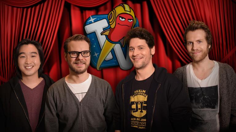 Das Team von Rocket Beans TV:  Daniel Budimann, Etienne Gardé, Simon Krätschmer und Nils Bomhoff.