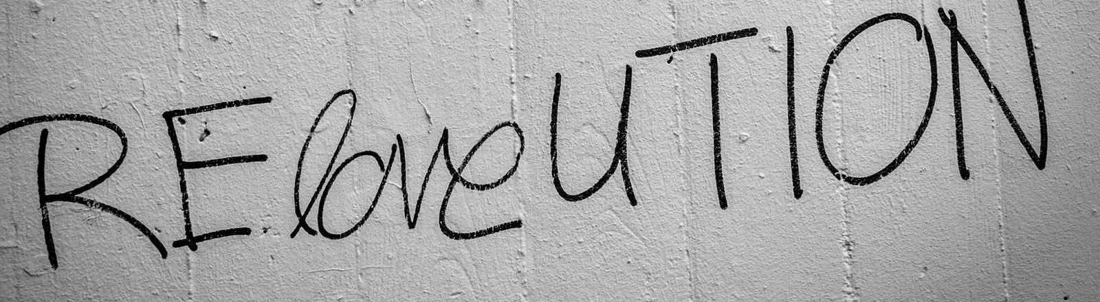 Auf einer Wand steht Reloveution, eine Mischung aus Love und Revolution.