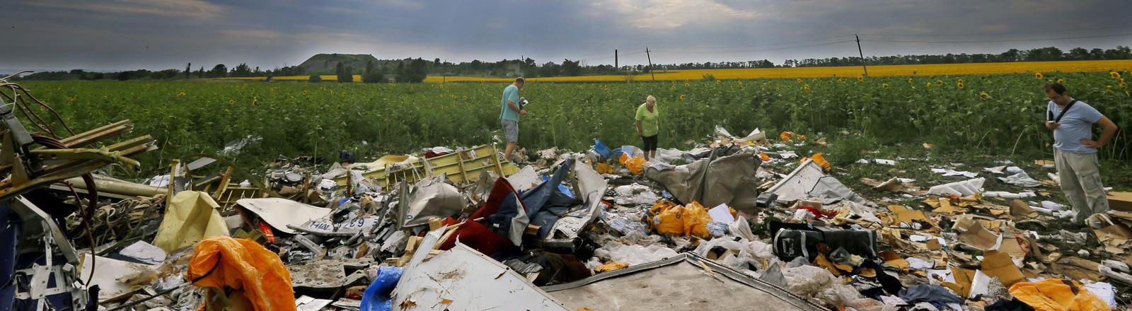 An der Absturzstelle der MH17 liegen Trümmer. Journalisten stehen am Rand. Dahinter ist ein Feld voller Sonnenblumen; Bild: dpa
