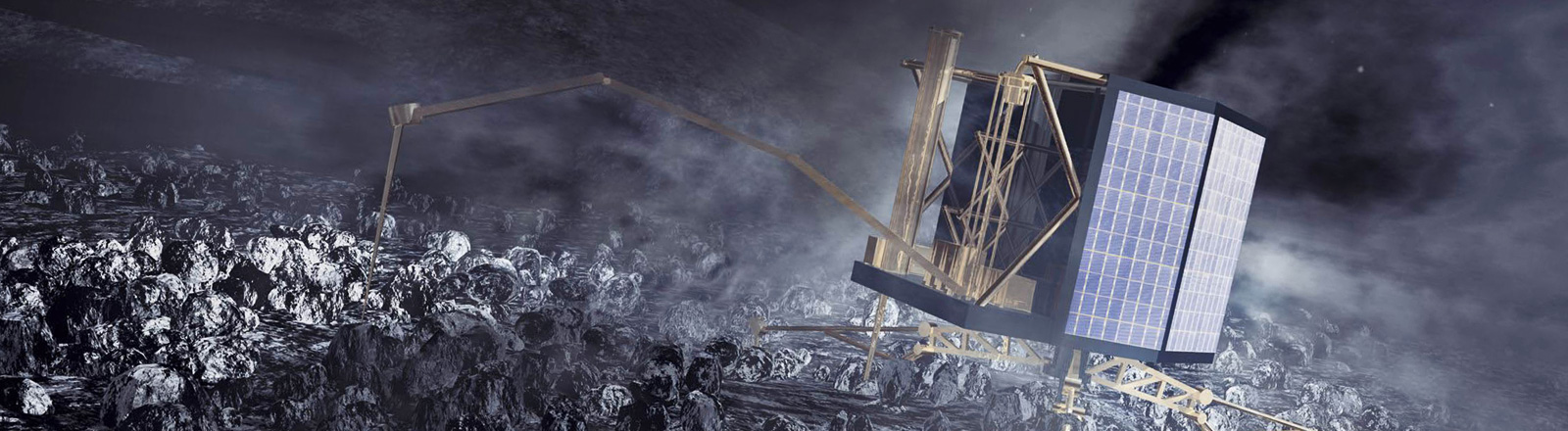 Illustration des Landeroboters Philae auf dem Kometen Tschuri; Bild: dpa