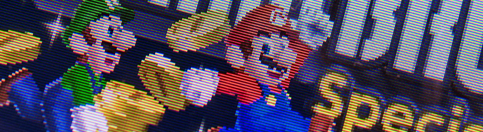 Die Hauptfigur des Videospiels «Super Mario» ist auf einem Nintendo 3DS zu sehen.