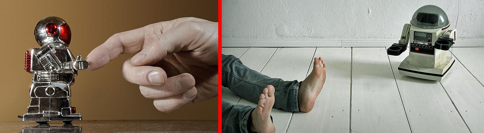Finger einer Hand berührt Miniroboter | Beine und Füße auf dem Boden, kleiner Roboter daneben