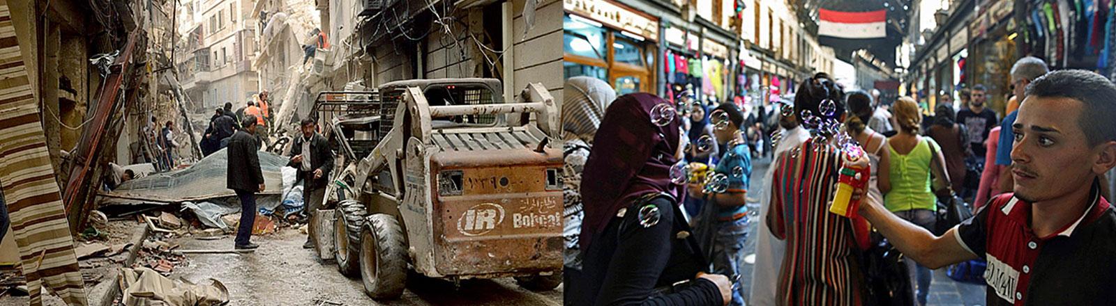 Syrien-Collage: Zerstörungen in Aleppo und Einkaufsstraße in Damaskus