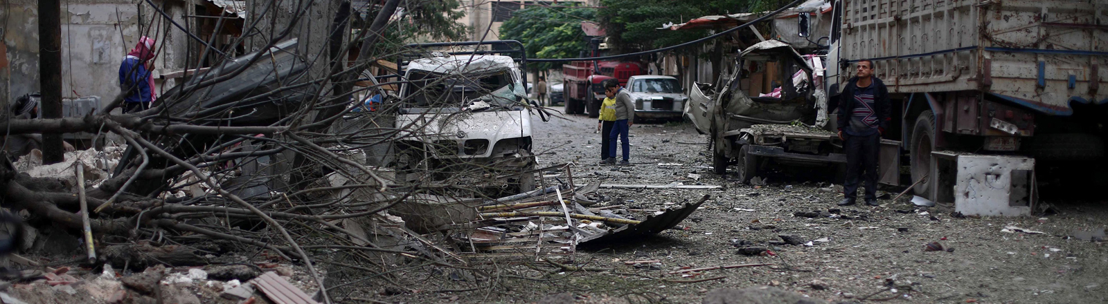 Die Stadt Douma bei Damaskus, nach einem Luftangriff durch Anhänger des Assad-Regimes am 4.11.2015.