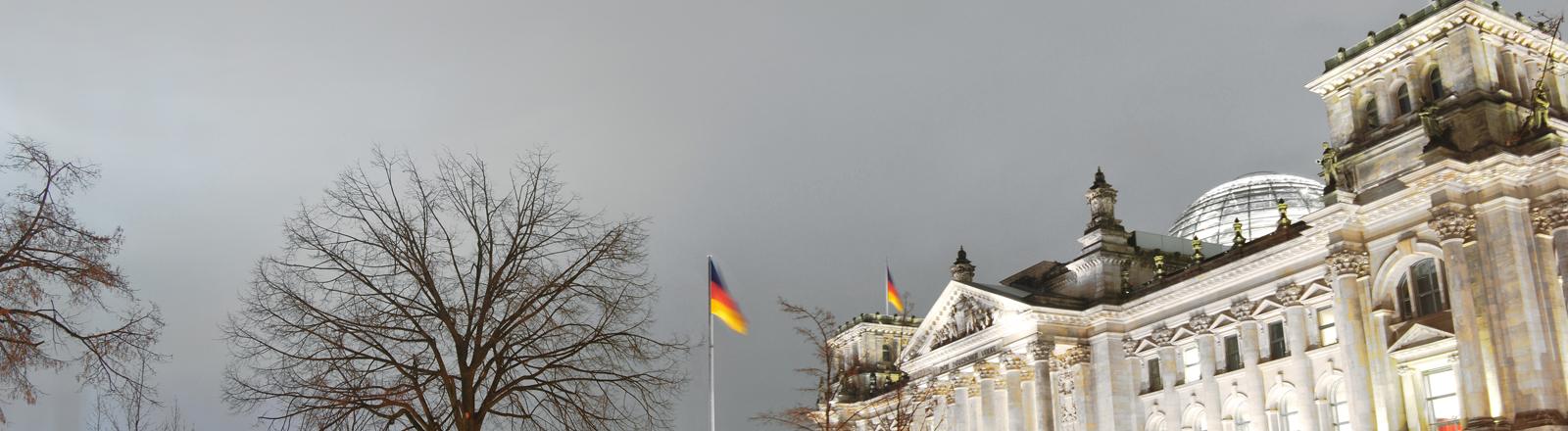Der deutsche Bundestag im grauen Herbstwetter