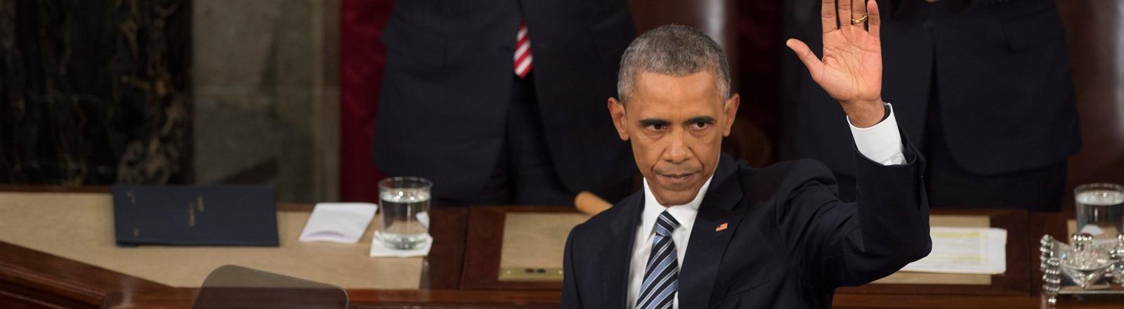 Barack Obama nach seiner letzten Rede zur Lage der Nation.