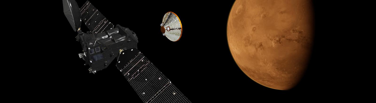 Künstlerische Darstellung der geplanten ExoMars2016-Mission.