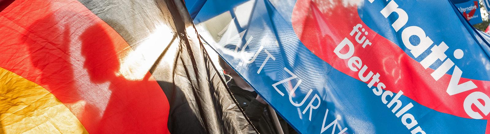 Auf einer Demonstration wird eine Deutschlandfahne neben einer AfD-Fahne hochgehalten; Foto: dpa