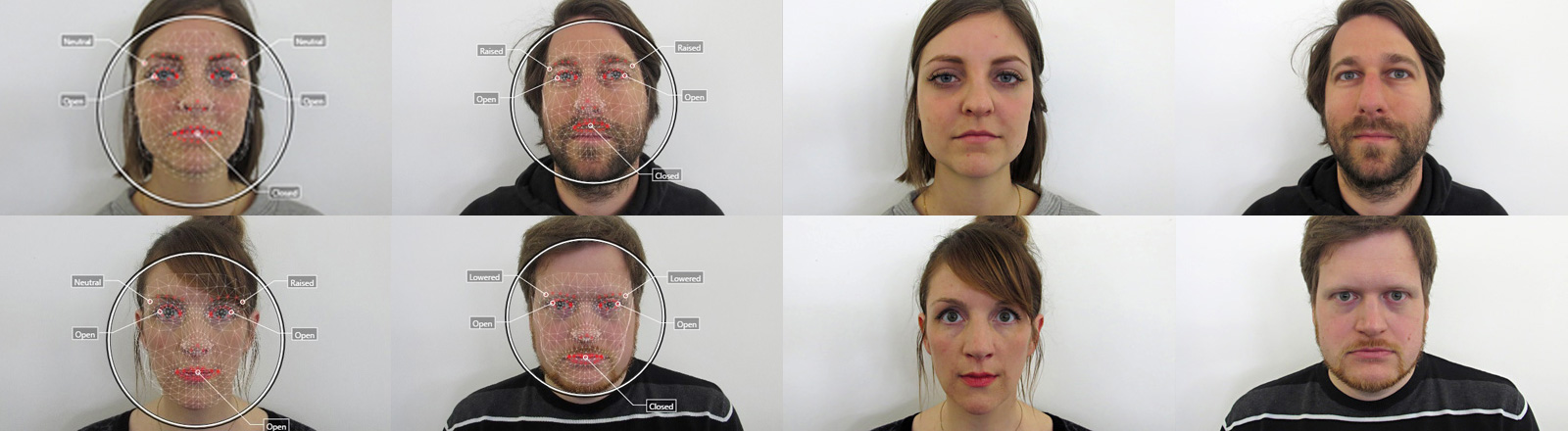 Zwei Mal acht Fotos von vier Personen. Das eine Foto zeigt das Gesicht normal und das andere mit Linien darüber, die vom Vermessungstool stammen.