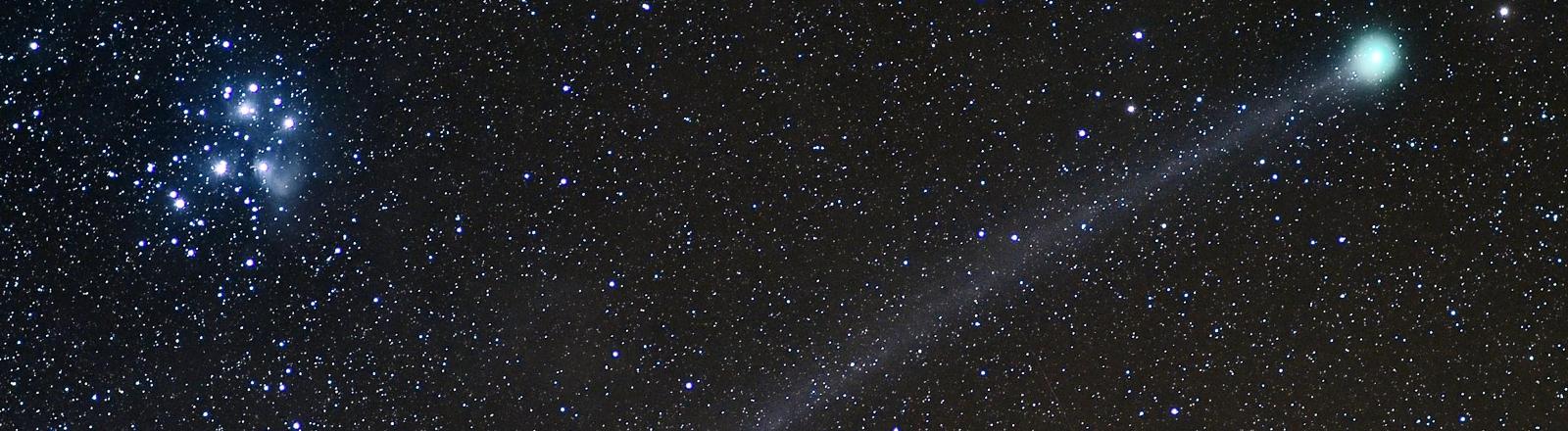 Der Komet C/2014 Q2 Lovejoy passiert am 17.01.2015 am Nachthimmel über dem Nationalpark Eifel in der Nähe von Schleiden