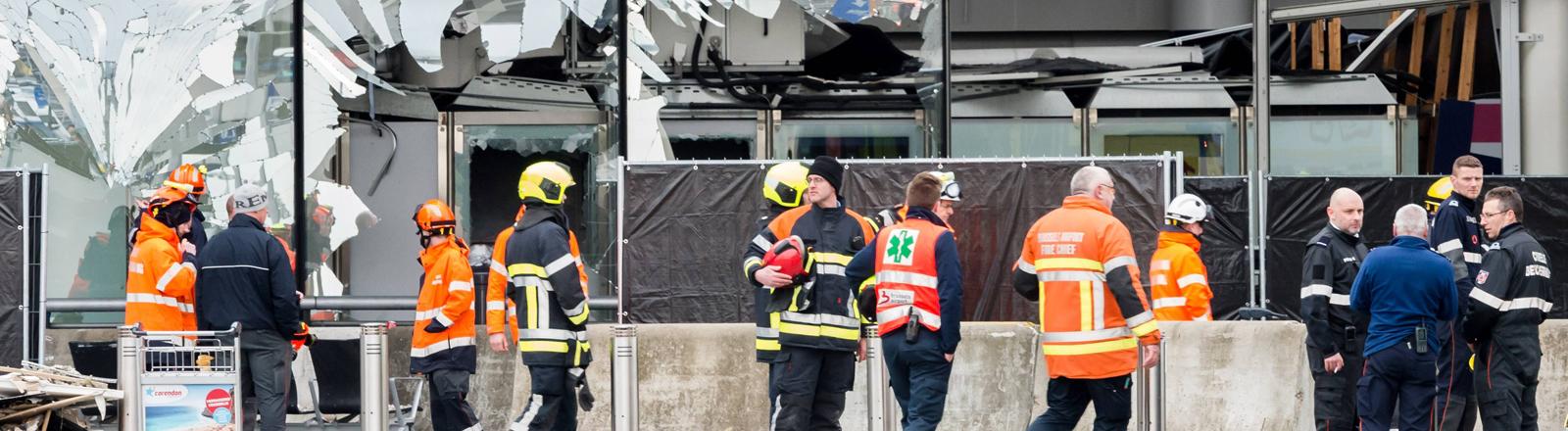 Der Brüsseler Flughafen nach einem Selbstmordanschlag vom 22.03.2016.