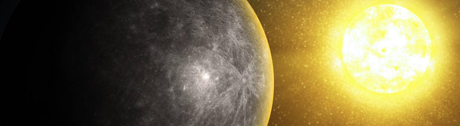 Eine Grafik vom Merkur vor der Sonne.