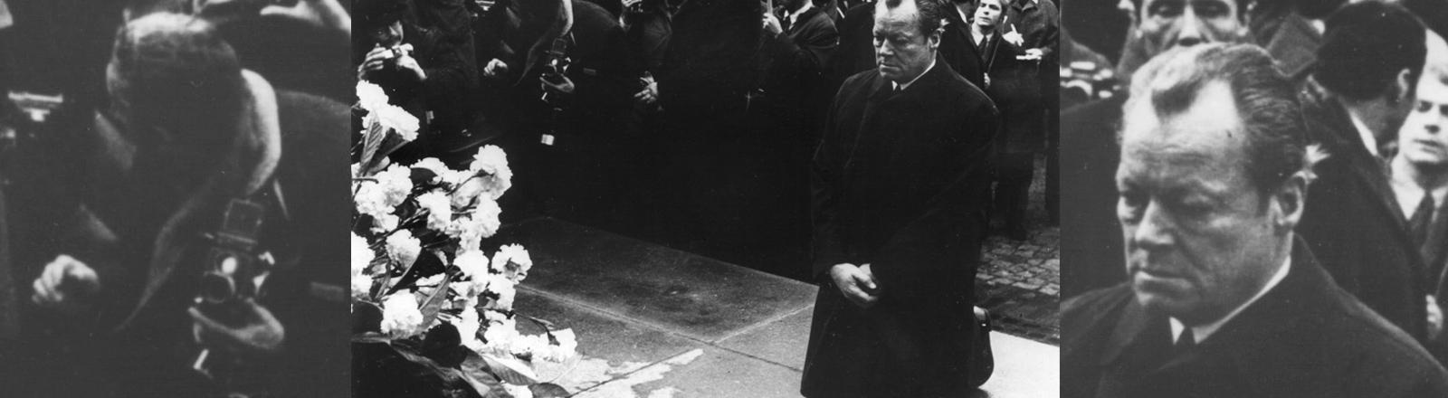 Bundeskanzler Willy Brandt kniet am 7. Dezember 1970 vor dem Warschauer Ehrenmal, das den Helden des Ghetto-Aufstandes vom April 1943 gewidmet ist. Mit dieser Geste legte Brandt den Grundstein für die deutsch-polnische Aussöhnung.