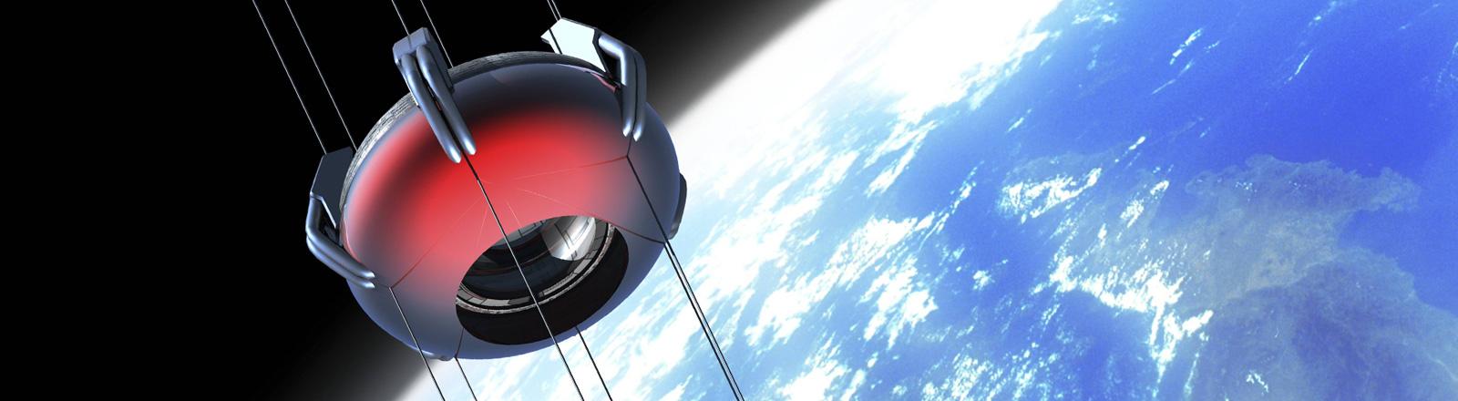 Illustration eines Weltraumaufzuges. An Seilen hängt ein runder Aufzug. Im Hintergrund sind Erde und Mond zu sehen.