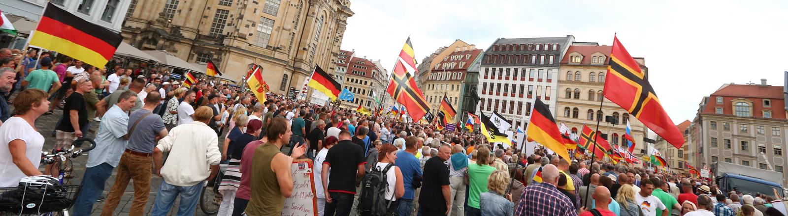 Pegida-Demonstration in Dresden am 29.08.2016.