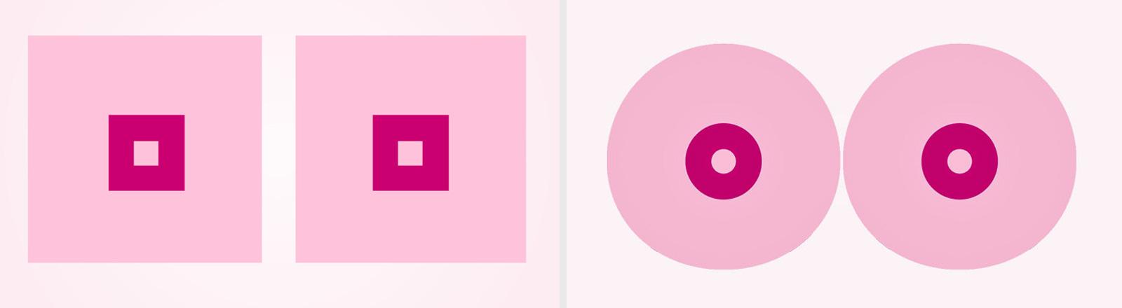 Rechts im Bild zwei rosa Vierecke, in der Mitte mit roten Vierecken. Links eine Animation von Brüsten: Zwei rosa Kreise. In der Mitte mit roten Kreisen.