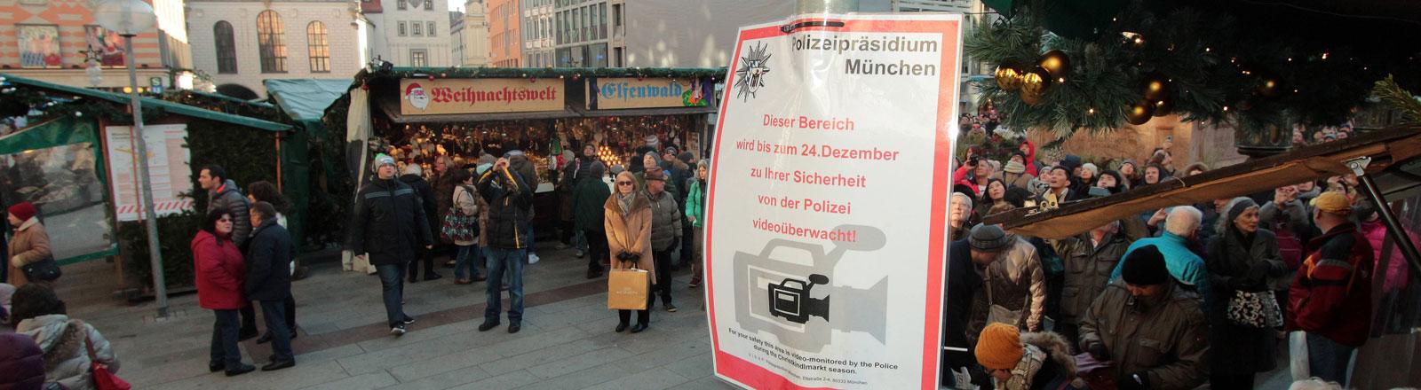 Kameraüberwachung am Weihnachtsmarkt in München