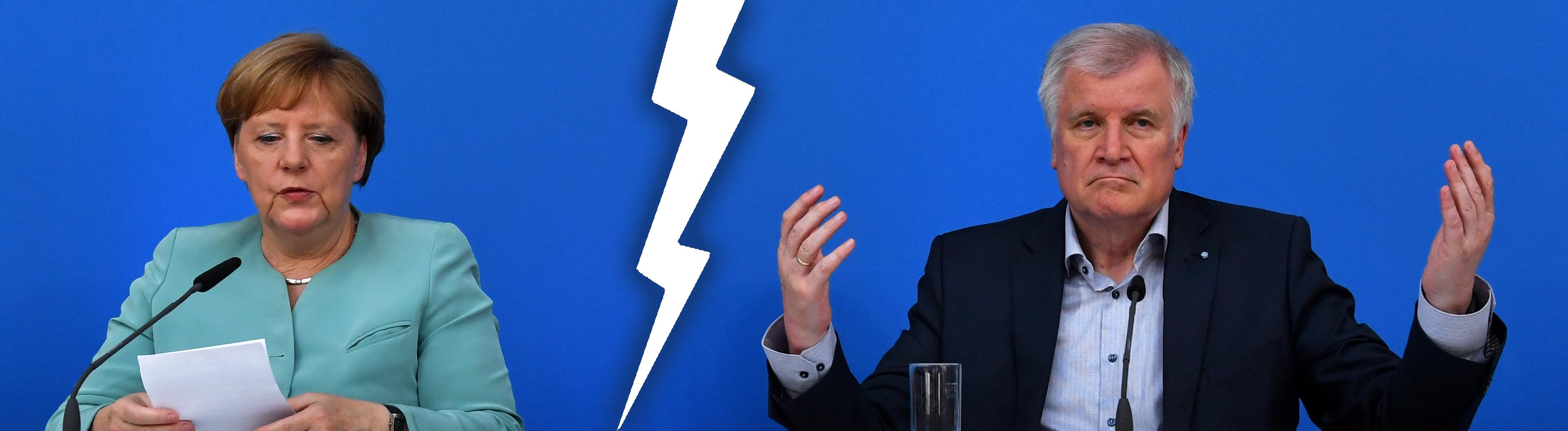 Angela Merkel und Horst Seehofer sitzen nebeneinander und sehen wenig glücklich aus