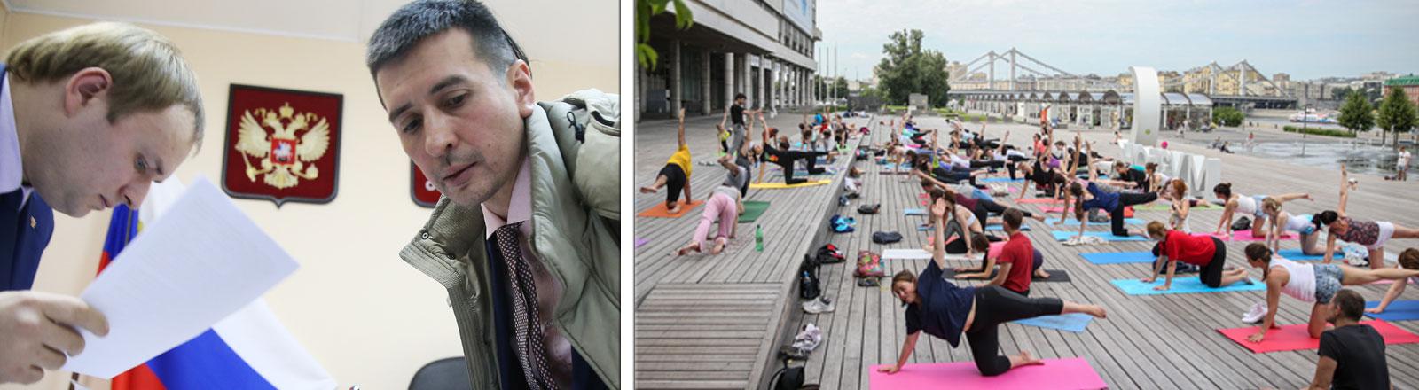 Yogalehrer Dmitry Ugai vor Gericht in Sankt Petersburg / Öffentliches Yoga im Muzeon Arts Park in Moskau