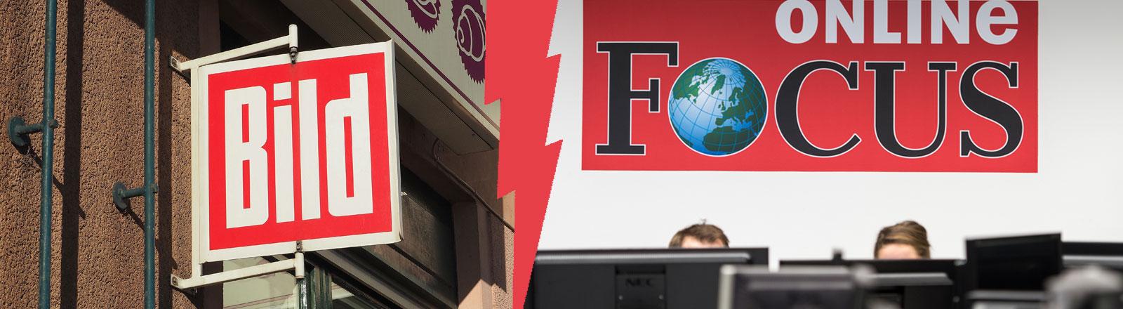 Logo der Bild-Zeitung, Focus-Online-Redakteure hinter ihren Monitoren, dazwischen ein Blitz, der beide Bilder trennt, Collage DRadio Wissen