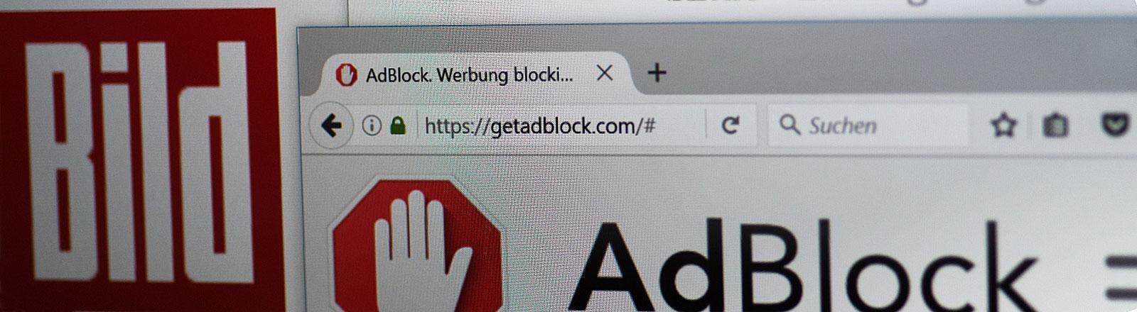 """Die Internetseiten des Werbeblockers """"AdBlock"""", der Tageszeitung """"Bild"""" und der """"Süddeutschen Zeitung"""""""