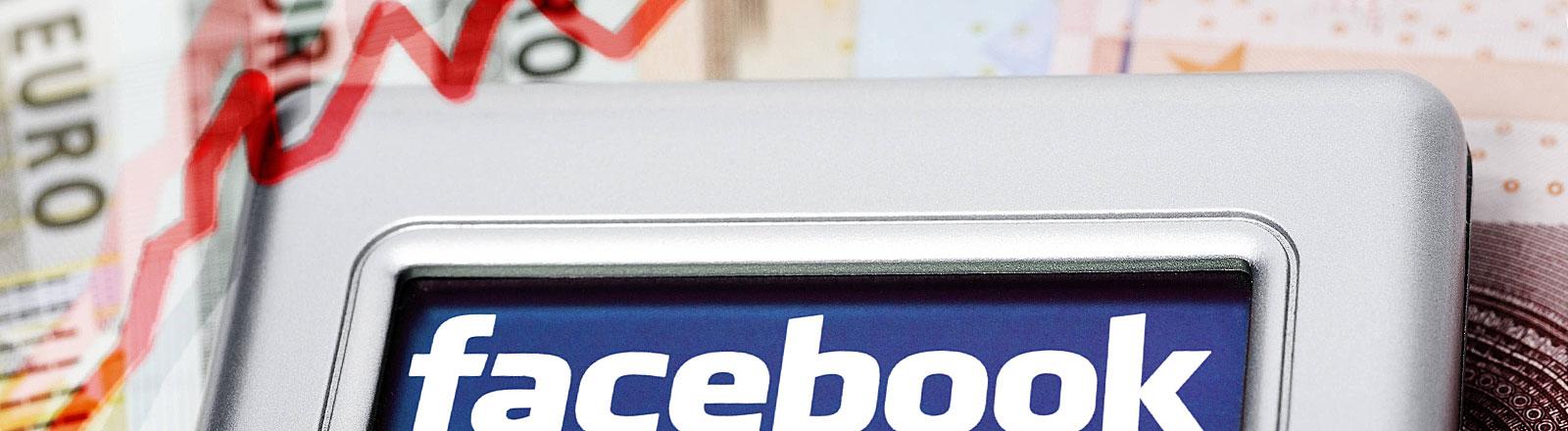 Facebook-Logo auf Smartphone, Geldscheine, steigender Kurswert