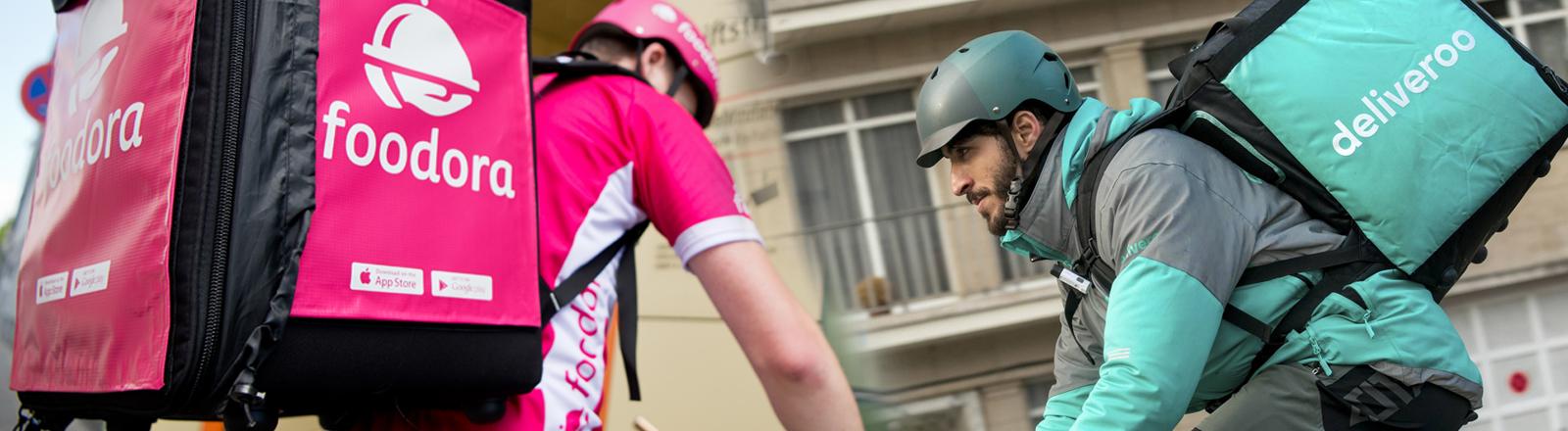 Kuriere von Foodora und Deliveroo auf Fahrrädern