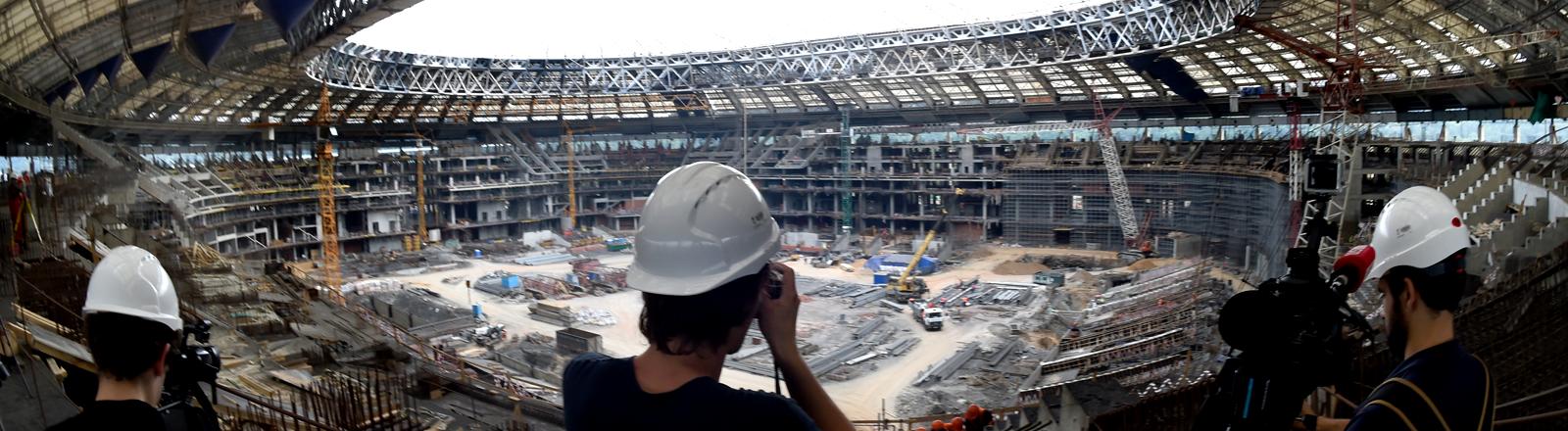 Die Baustelle im Luschniki-Park in Moskau im Juli 2015