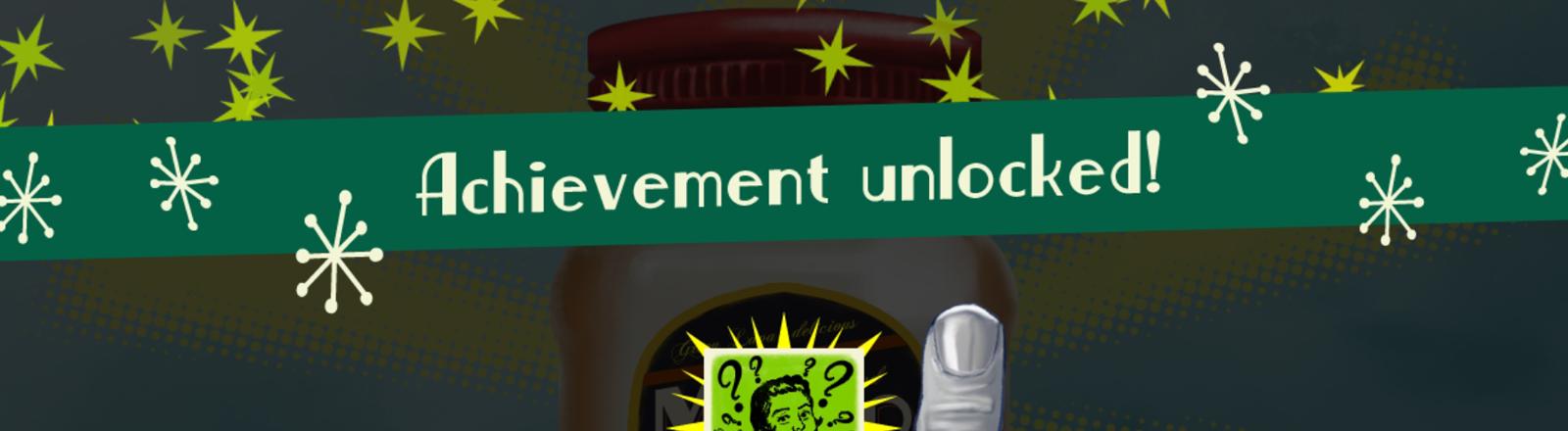 Screen von einem Spiel: Zu sehen sind ein Glas Mayonnaise und ein Zeigefinger mit einem Ring.